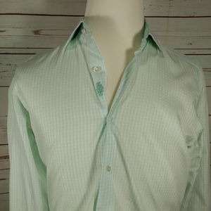 Button Down Contrasting Collar&Cuffs Green/White